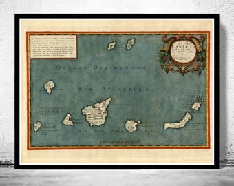 Old Map Canary Islands 1653 Canarias