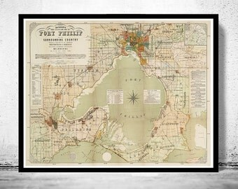 Vintage map of Port Phillip and Melbourne bay, Australia 1886