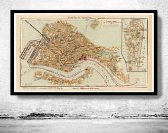 Vintage Old Map of Venice Venetia Venezia , Italy 1928