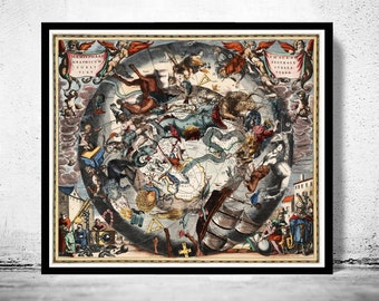 Celestial Chart Harmonia Macrocosmica of 1661 astrologycal map