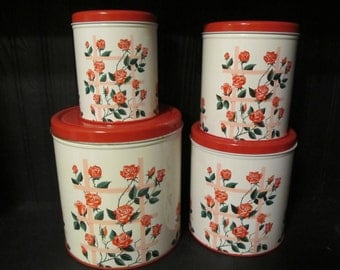 1950s Decoware Canister Set, Pink and Red