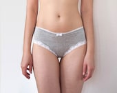 Gray and White Lace Girly Panties with White Hearts Trim. Women's Lingerie