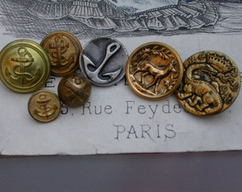 Lot 7pcs French vintage silver  gold metal button military button anchor hunt hunting wild animal deer 1900s  buttons Paris France