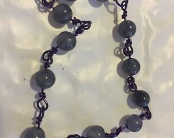 Gray Agate & Purple Wire Bracelet