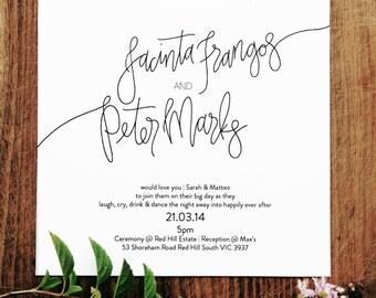 Semi- Custom Typography Wedding Invitation & RSVP