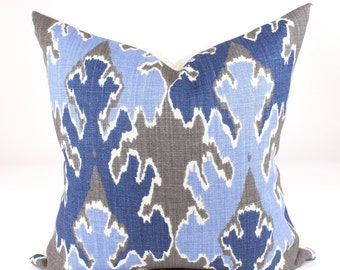 "Kelly Wearstler BENGAL BAZAAR Pillow Cover in Grey/Indigo Blue Lee Jofa, Accent Pillow, Toss Pillow and  18"", 20"", 22"", 24"" sq."