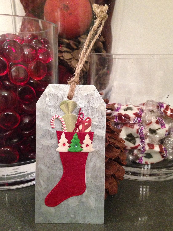 Gift tag christmas stocking metal by