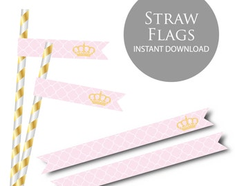 Little Princess Pink Baby Shower Straw Flags- Instant Download PDF