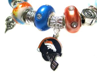 Denver Broncos Licensed Charm on a European Style Bracelet
