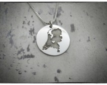 NETHERLANDS HOLLAND Coin Necklace - Sterling Silver Personalized State Country Love Heart Charm Penddant Chain, Hand Cut & Polished in USA