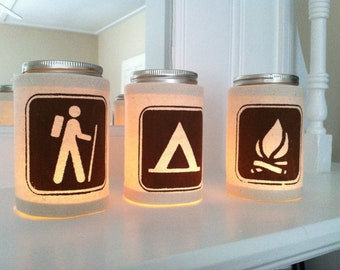 Camping Mason Jar Candle Luminary || Camp Fire, Hiker, Tent