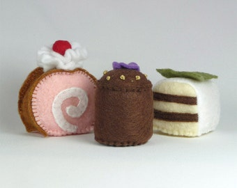 Play kitchen, Play Food, Pretend Food, Felt Food, Petit Fours, Quiet Toy activity, Play Food Sets, Baby Montessori toys