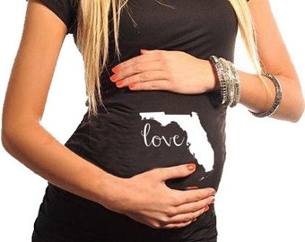 Any State - Maternity / Pregnancy TShirt USA State Love. Maternity shirt. Pregnancy Shirt.