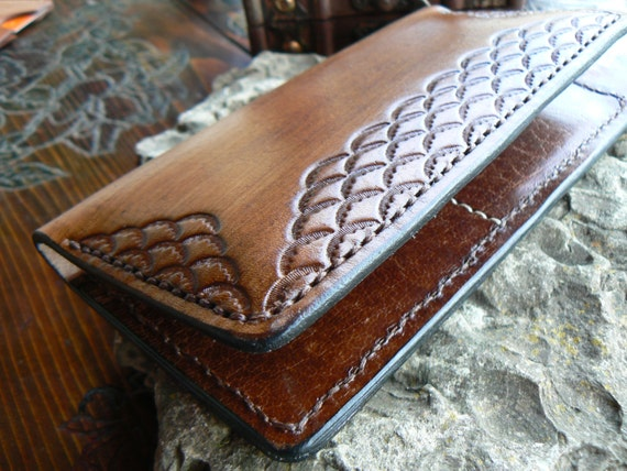 Tooled Handmade iPhone 6 and iPhone 6 Plus Wallet, Leather iPhone 6 Case, iPhone 6 Leather Wallet