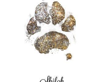 Glitter Pet Paw Print, Cat, Dog, Animal art. Digital download, personalized pet print, paw+print