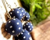 """RESERVED earrings Blue Navy polka dot beads fabric APACHE - Collection """"Indian summer"""""""