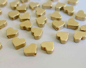 100pcs Raw Brass Heart Shape Beads Spacer Beads 6mm x 7mm - F223