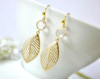 Leaves Earrings, Crystal Glass Gold Leaf Charm Earrings, Gold Glass Dangle Earrings, Bridal Earrings, Bridesmaid Earrings, Christmas Gift