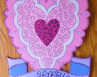 Valentine's Day Banner is embellished entirely with hand sewn sequins and beads.