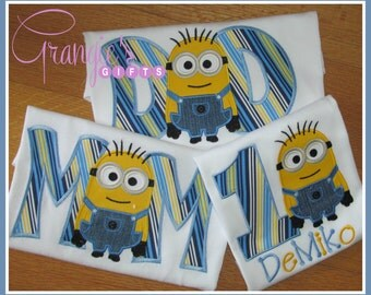Personalized Pack of Minion Birthday T-Shirts for MOM & DAD ONLY