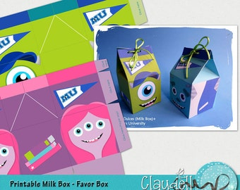 Monsters Colors University Inspired Party Printable Milk Box / Favor Box - 300 DPI