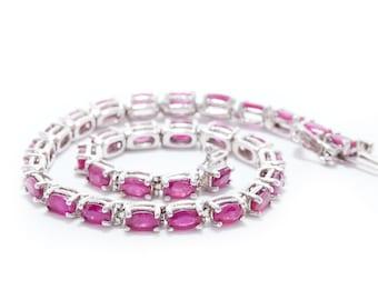 Bracelet, Ruby Bracelet, White Gold Bracelet, Oval cut Ruby Bracelet, Red Ruby Bracelet,Tennis Bracelet, Ruby Tennis Bracelet | BR01118