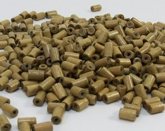 Wood Beads, Natural 6mm Light  Brown Wooden Beads, 500 Hand-Cut Tube Wood Beads, Beading Supplies, Item 361wb