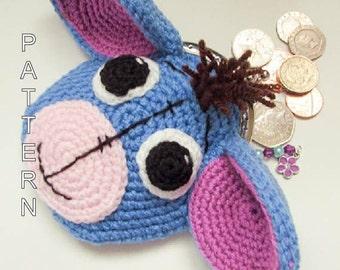 Crochet Pattern - Eeyore Donkey Animal Coin Purse, character purse, bag, coin purse