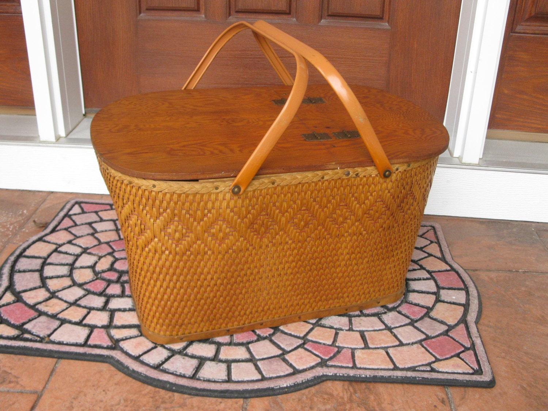 Extra Large Picnic Basket Redmon Wicker Picnic Basket