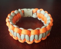 FREE US SHIPPING!!! Orange and Tan Cobra Weave Paracord Bracelet 8 Inches