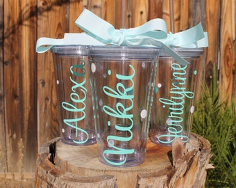 Set of 3 Personalized Tumblers - Choose Fonts and Colors - Great Gift - Decorated with Name and Polka Dots