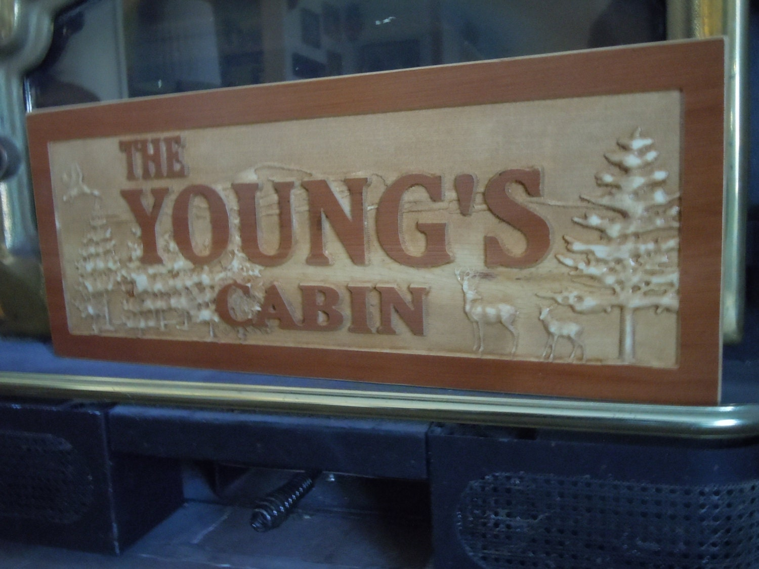Cabin sign layered look mountain retreat personalized wooden for Cabin signs wood