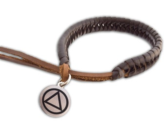Alcoholics Anonymous AA Braided Leather Bracelet