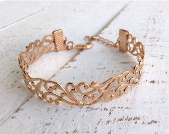 Rose Gold Filigree Bracelet, Rose Gold Bracelet, Cuff Bracelet, Lace Bracelet, Bridal Bracelet, Mom Gift, Wedding Bracelet, Bridesmaid gift