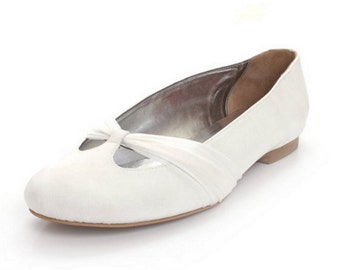 White Chiffon Wedding Ballet Flats. White Chiffon Wedding Flats. White Chiffon Wedding Flats, Custom Made Wedding Flats.