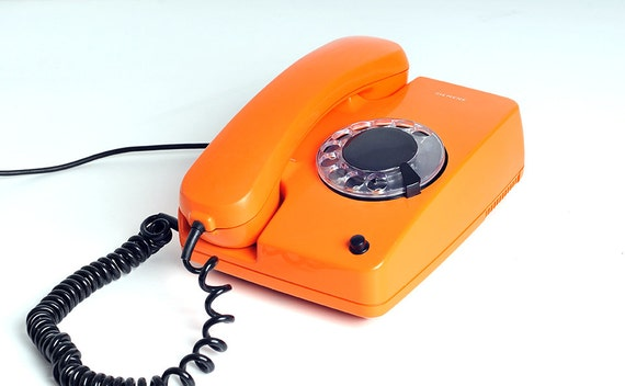 vintage siemens telephone orange 1970s. Black Bedroom Furniture Sets. Home Design Ideas