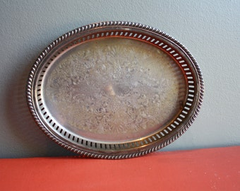 Small Antique Silver Vanity/Serving Tray