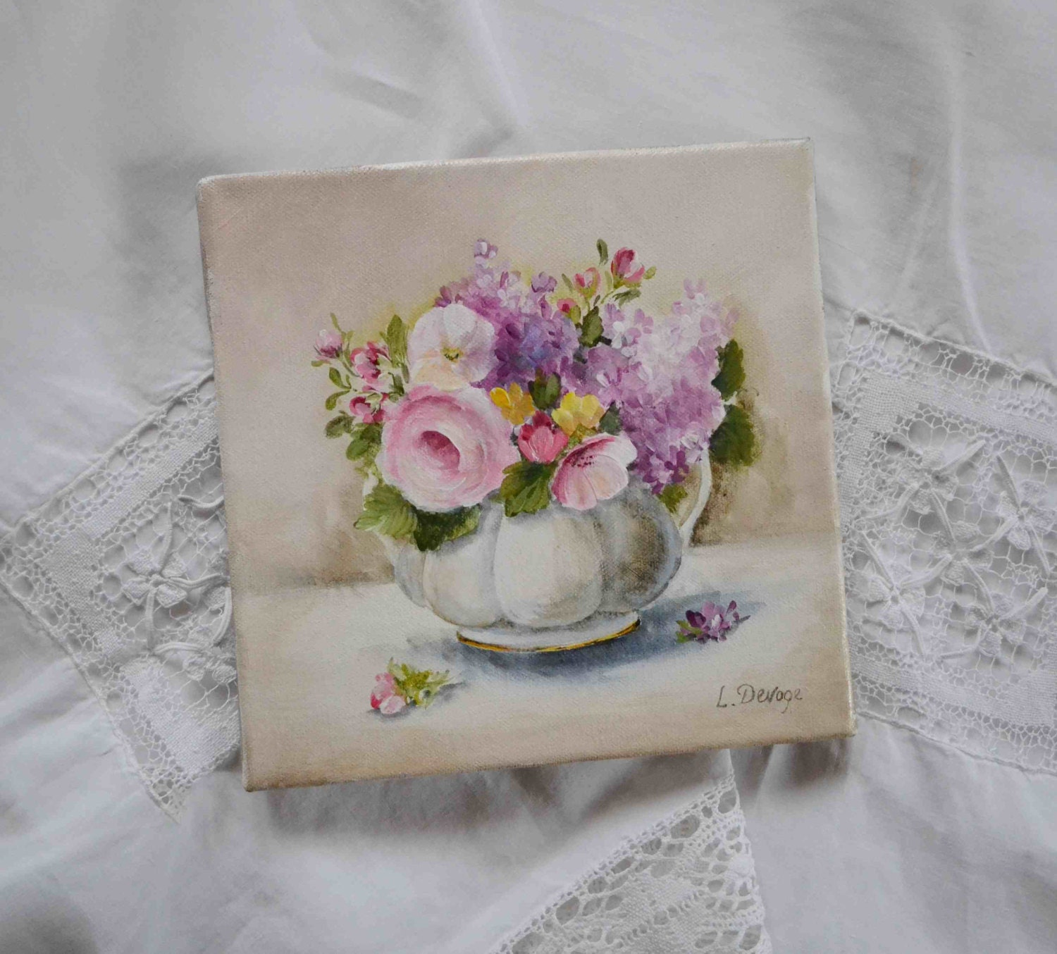 original french floral painting shabby chic style