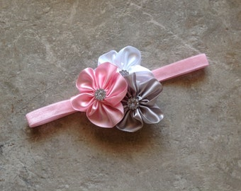 Baby Headband, baby girl headband, flower headband, gray, pink and white headband, Newborn headband, baby bows, satin flower headband