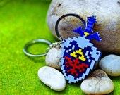 Pixel Hyrule Shield Master Sword Zelda Acrylic Plastic Pendant Keychain for couple and gamer 8 bits design