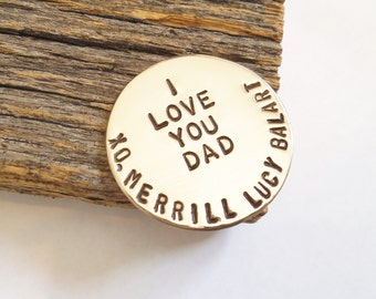 Father's Day Golf Gift for Dad Personalized Golf Tee Marker Mom Mothers Day Custom Ball Marker Bronze Golfer Grandpa Golfing Gift Wife Women