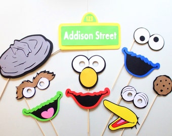 11pc * Sesame Street Inspired Photo Booth Props/Photobooth Props/Big Bird/Cookie Monster/Elmo