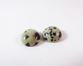 D-00129 - 2 Gemstone Cabochon Dalmatian Jasper 12mm