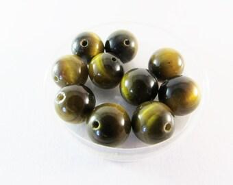 D-01631 - 10 Tigereye beads 10mm
