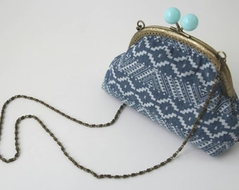 GRACE Frame Bag, patterned denim with choice of snap clasp and lining colour, aqua spot or coral print. Clutch Purse. Detachable chain strap