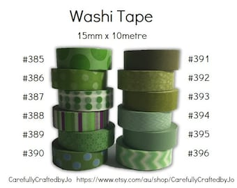 Washi Tape - Green - 15mm x 10 metres - High Quality Masking Tape