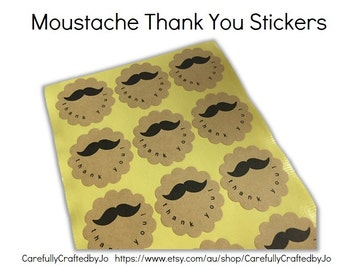 Moustache Thank You Stickers - 3.8cm wide Sticker/ Envelope Seals