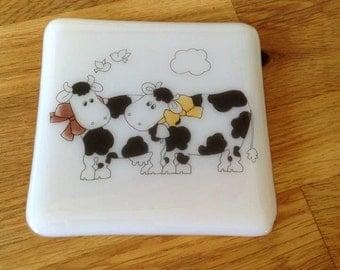 Friesian Cow Coaster, Cute Cow Coaster, Fused Glass Coaster, Humorous Coaster, Fun Cow Coaster, Two Cows Coaster,