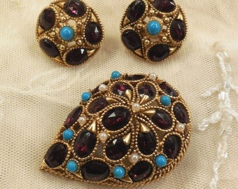 Vintage Florenza Red Garnet Rhinestones, Faux Turquoise and Faux Seed Pearl Brooch and Earrings