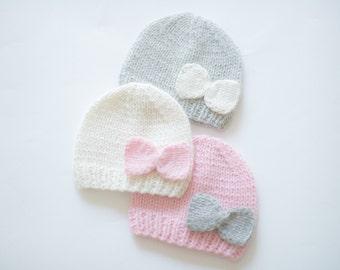 Cashmere baby hat with different color bow /  newborn hat / baby girl hat / handknit hat / newborn photo prop / baby shower gift